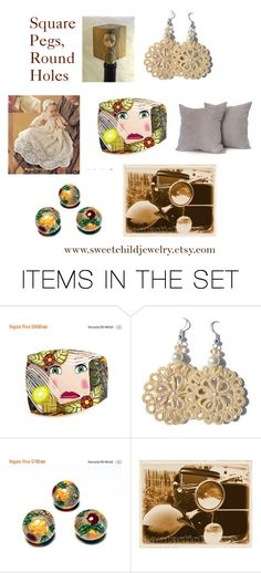 """""""Square Pegs, Round Holes"""" by sweetchildjewelry ❤ liked on Polyvore featuring art and vintage"""