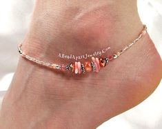 Handmade Swarovski Crystal Beaded Anklets and by ABeadApartJewelry Sterling Silver Anklet, Silver Anklets, Beach Bracelets, Ankle Bracelets, Rose Gold Anklet, Ankle Jewelry, Beach Anklets, Coral Bracelet, Swarovski Crystal Beads