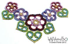 TUTORIAL Beaded Lace Hearts Part 6 of the Beaded Lace di gwenbeads