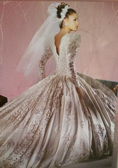 This was dream gown in the Demetrios 1993 back view Wedding Dress With Veil, Bridal Wedding Dresses, Dream Wedding Dresses, Bridal Style, Perfect Bride, Royal Brides, Vintage Bridal, Retro Weddings, 90s Style