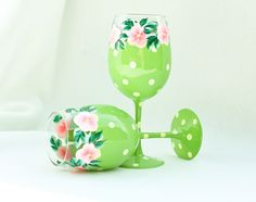 Lime green polka dot glasses with pink flowers | All That Glass (also pinned a leaf green set)
