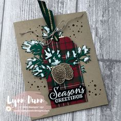 Turn your tags into cards! 3 differentChristmas card ideas featuring the Stampin Up Peaceful Boughs and some fun tips for using puff paint to add snow. Joy Fold Card, Fun Fold Cards, Folded Cards, Christmas Cards To Make, Christmas Deco, Christmas 2019, Puff Paint, Pumpkin Cards, Slider Cards