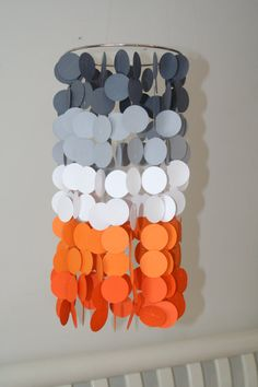 Gray and Orange Ombre Paper Crib Mobile by FourGlitteredGeese, $38.00
