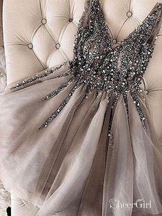 37936d62238 Grey Rhinestone Beaded Homecoming Dresses V Neck Tulle Short Prom Dress  ARD1745
