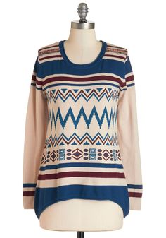The Fun that I Want Sweater. No matter what activities fill your weekend agenda, the day will be livelier when youre cozied up in this patterned sweater! #multi #modcloth