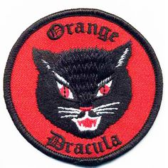 EMBROIDERED CLOTH PATCH ORANGE DRACULA Black Cat Halloween