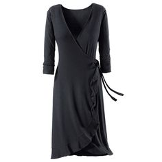 Ruffled Knit Wrap Dress
