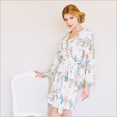 Kimono Style Robe. Knee Length. Beckoning Creatures. - Plum Pretty Sugar Loungerie
