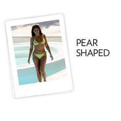 PEAR SHAPED WOMEN:  Bathing suits. For extra coverage on the thigh, look for a clean-skirted bottom, a feminine look that offers more coverage. To flatter thighs, a skirted bottom should fall just below the largest part of the upper leg. A plunging neckline or eye-catching top draws the eye upward, minimizing the bottom.
