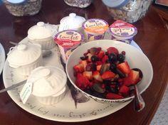 Locally made Rowan Glen yoghurts and beautiful summer fruits for breakfast.