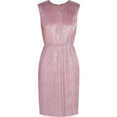 Gucci Plissé lamé mini dress ($1,070) ❤ liked on Polyvore featuring dresses, vestidos, gucci, wet look dress, wet look mini dress, rose dress, pink dress and short shift dress