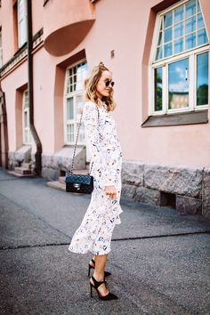 Summer outfit with a flowy print dress, black killer heels & a Chanel bag - Anna Pauliina, Arctic Vanilla blog.