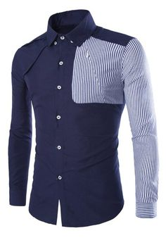 0c143c3cf02 Color Block Vertical Stripe Splicing Shirt Collar Long Sleeve Slimming  Stylish Polyester Shirt For Men