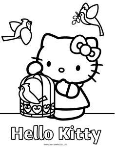 hello kitty bird cage coloring book