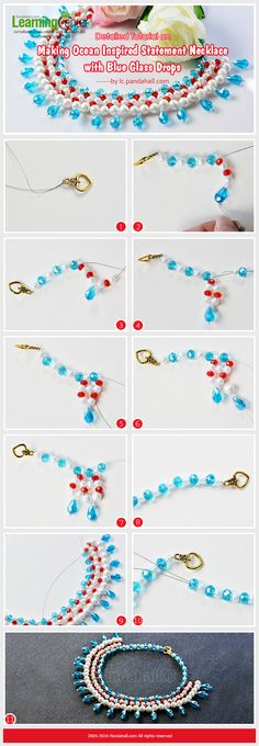 Detailed Tutorial on Making Ocean Inspired Statement Necklace with Blue Glass Drops from LC.Pandahall.com      #pandahall