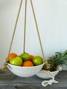 Extra Large Hanging Ceramic Fruit Basket, Jute or Cotton Cord, Hand Carved Geometric or Smooth Porcelain Bowl Design