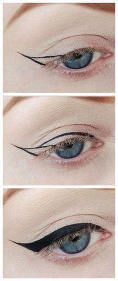 47 Ideas for eye makeup eyeliner liquid liner make up Perfect Winged Eyeliner, Winged Eyeliner Tutorial, How To Apply Eyeliner, Winged Liner, Eye Liner, Easy Eyeliner, Simple Eyeliner Tutorial, Everyday Eyeliner, Pin Up Eyeliner