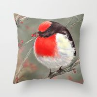 """Throw Pillow featuring """"Red-Capped Robin"""" by Giulia Cerri"""