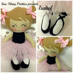 This+is+a+15+inch+Ballerina+Doll+from+Sew+Many+Pretties.    This+cutie+is+handmade+from+100%+cotton+fabrics+for+her+body+and+wool+blend+felt+for+her+hair+and+pigtails.  Facial+features+are+hand+embroidered.    Her+pink+tulle+skirt+is+removable+with+an+elastic+waistband.    Her+felt+ballet+shoes+a...