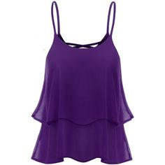 Thanth Strap Shirring Chiffon Cropped Tank Top Cami Blouse ($12) ❤ liked on Polyvore featuring tops, crop top, shirred top, purple camisole, strappy crop top and strappy top