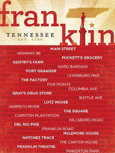 Franklin TN Neighborhood Poster