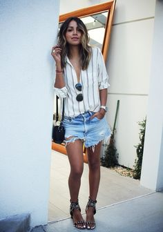Summer Chic With Fashionista Sincerely Jules Short Outfits, Summer Outfits, Casual Outfits, Denim Shorts Outfit, Jean Shorts, Stripe Shorts, Denim Outfits, Denim Cutoffs, Ripped Denim