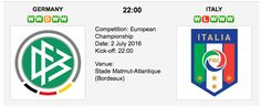 Germany will face a tough challenge from Italy in the quarterfinals of the 2016 UEFA European Championship. This match is set on Saturday, July 2 at the Nouveau Stade de Bordeaux. Uefa European Championship, European Championships, Germany Vs Italy, Competition, Challenges, Face, The Face, Faces, Facial
