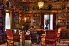 Hearst Castle Library, San Simeon, CA Library Room, Dream Library, San Simeon, Beautiful Library, Personal Library, Home Libraries, Second Empire, Book Nooks, Reading Nooks