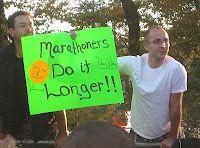"Spectator at the 2010 Chicago Marathon. ""Marathoners do it longer!!"""