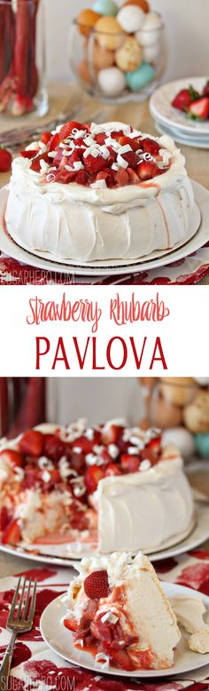 Strawberry Rhubarb Pavlova--a fluffy, towering pavlova topped with strawberries and rhubarb! | From SugarHero.com