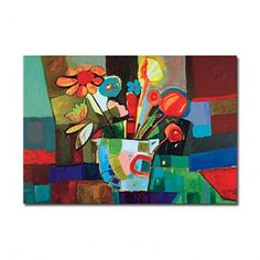 Hand-painted Abstract Oil Painting with Stretched Frame - WallArtBox