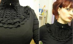 Black cutsew. This neck can be done and attached to any simple shirt.