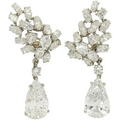 Important Cartier Paris Pear Shaped D Color Diamond Drop Earrings ($493,295) ❤ liked on Polyvore featuring jewelry, earrings, diamond earrings, jew, diamond jewellery, earring jewelry, diamond jewelry and diamond drop earrings