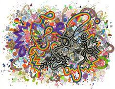 Beautiful abstract illustration by Jen Stark, based on abstract shapes and forms. Created using felt tip pen.
