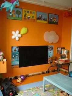 Bright orange play room