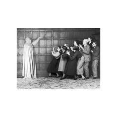 People 'cowering in fear' at the sight of a ghost, c 1920s. ❤ liked on Polyvore featuring home, home decor, wall art and post card