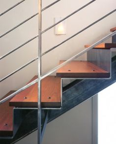 Love the Mix of wood and steel. Delancey Street Townhouse contemporary staircase #EasyPin