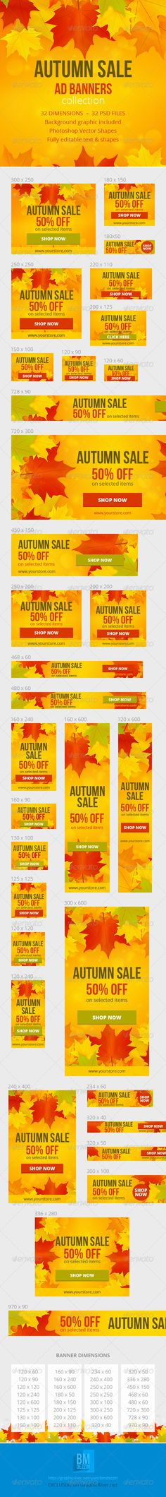 Autumn Sale Ad Web Banners Template PSD | Buy and Download…