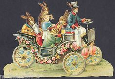Easter Rabbit Bunny Spring Floral Automobile Egg Music German Paper Scrap Card