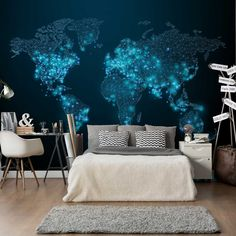 Illuminated effect globe for walls ➔ Bedroom ideas - How to decorate the bed wall with an exclusive world map for blue walls with illuminated continents - Cerise Pink Dress, Elephant Tapestry, Bed Wall, Diy Mirror, Teen Bedroom, Bedroom Ideas, Blue Walls, Small Rooms, Bed Frame