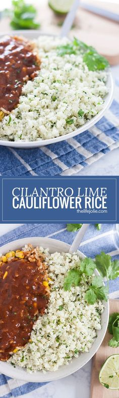 Cilantro Lime Cauliflower Rice is such an easy, low carb side dish. With cauliflower, garlic, cilantro and lime juice it cooks up really quickly and tastes especially great with Mexican food. This is definitely one of my new favorite healthy recipes! @lea