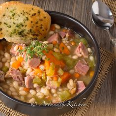 My favourite way to use leftover ham is to whip up this exceptional recipe for Ham and Bean Soup.