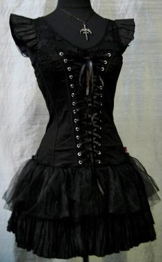 .laced-up short goth dress
