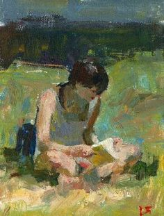 Sitting Criss Cross Reading a Book by darren thompson, Painting - Oil | Zatista