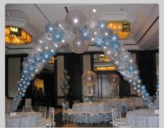 """Balloon arch.  Do this in the Dr Suess colors for the """"stage"""" area"""