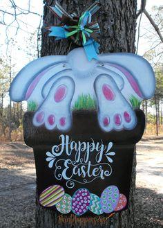 Easter Door Hanger Bunny looking for eggs Door by PaintHappens2Us