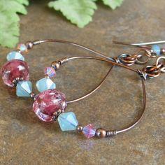 Teardrop Copper Earrings Pink Lampwork Beads Turquoise Pink Swarovski Crystals Hoop Earrings On Sale