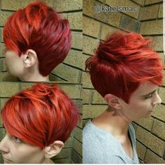 @katelsmac with an amazing red pixie cut on her client by nothingbutpixies