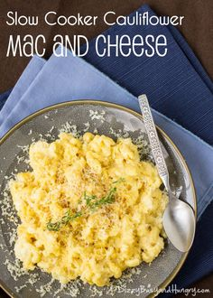 Slow Cooker Cauliflower Mac and Cheese - Kids love the taste, moms love the nutrition and easy prep! http://www.dizzybusyandhungry.com/slow-cooker-cauliflower-mac-and-cheese/