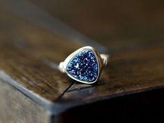 Druzy Triangle Ring - Cobalt